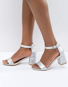 Glamorous Barely There Mid Heeled Block Sandal in Silver
