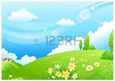 Diese Abbildung ist eine gemeinsame Naturlandschaft. Hügelige Landschaft und blauer Himmel