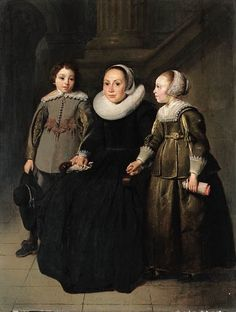Thomas de Keyser - Portrait of a woman with two children Old Portraits, Family Portraits, Old Paintings, Beautiful Paintings, Historical Costume, Historical Clothing, Potrait Painting, 17th Century Fashion, Baroque Painting