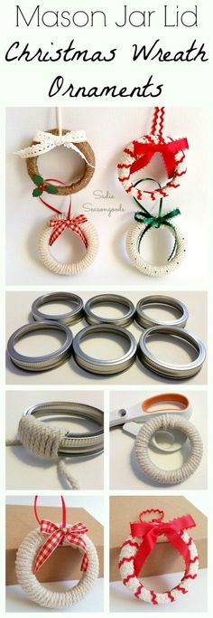 "Need an easy DIY Christmas craft project for kids this year? Repurpose some mason jar lid rings / bands by creating adorable ""wreath"" ornaments to hang on the tree! A simple repurpose / upcycle project that would make for a sweet gift...or keep them yourself for your tree! Or even attach to a wrapped present! #SadieSeasongoods / www.sadieseasongoods.com #HomemadeChristmasDecorations"
