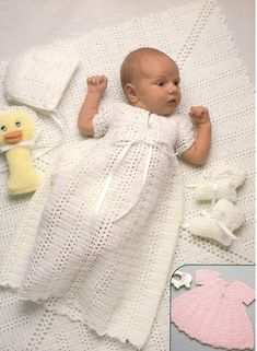 RARE vintage crochet pattern 1970 shell stitch stripe yoke baby christening gown dress layette set bThis RARE vintage crochet pattern 1970 shell stitch stripe yoke is just one of the custom, handmade pieces you'll find in our patterns & how to shops. Vintage Knitting, Vintage Crochet, Baby Knitting, Layette Pattern, Gown Pattern, Baby Christening Gowns, Baptism Gown, Blessing Dress, Baby Pullover