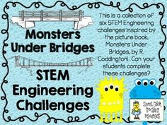 STEM Engineering Challenge Picture Book Pack ~ Monsters Under Bridges ~ Includes 6 Challenges!  $  Index Card Bridge Challenge Popsicle Stick Bridge Challenge Toothpick Bridge Challenge Toilet Paper Tube Bridge Challenge Pasta Bridge Challenge BONUS: Make Your Own Monster Challenge