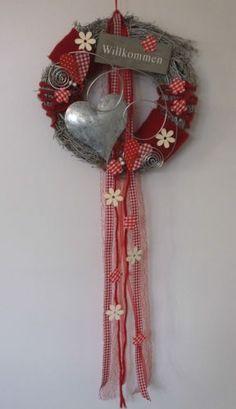 Door Wreath-Door-Jewelery-Heart-Welcome-Spring-Summer-Mother& Day-Red - . Xmas Wreaths, Door Wreaths, Valentine Wreath, Valentines Diy, Wooden Crafts, Diy And Crafts, Front Door Decor, Handmade Decorations, Christmas Decorations