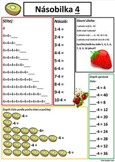 Násobilka čtyřkou - Paperwork for children - Papierarbeiten Class 3 Maths, School Frame, Math Worksheets, Mathematics, Kids Learning, Delena, Activities For Kids, Printables, Math