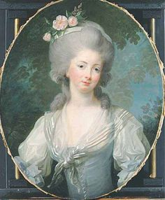 Variation of a portrait of Madame Elisabeth. Original oil painting by Elisabeth Vigée-Lebrun. Copy by unknown artist.