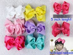 New handmade 6pc Baby Girl Grosgrain Ribbon solid Hair bows with clips 430B #MyOwnUniqueDesign