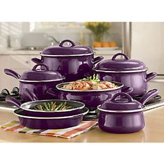 Non-stick Enamel Cookware from Ginny's ® Chintomby Watkins thought of you when I saw this! kitchen accessories Non-stick Enamel Cookware Kitchen Supplies, Kitchen Items, Kitchen Gadgets, Kitchen Dining, Enamel Cookware, Cookware Set, Purple Kitchen Accessories, Gris Violet, Induction Stove