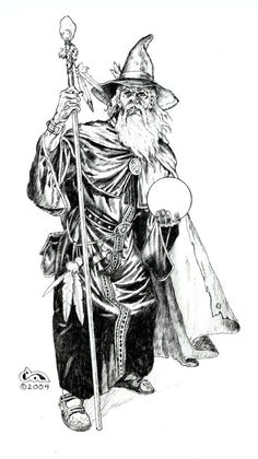 Old Wizard Drawing – Clyde Caldwell Online Wizard Tattoo, Witch Tattoo, Black And White Artwork, Black And White Drawing, Fantasy Wizard, Fantasy Art, Drawing Sketches, Art Drawings, Dragon Drawings