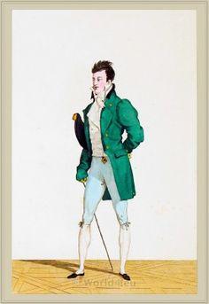 Costume Incroyable. Chevelure à la Charles XII. Culotte Vert d'Eau. 1795-1799