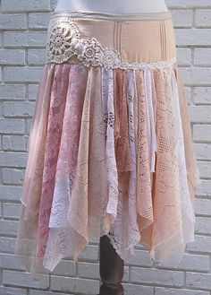 Fairy Woodland Skirt Gypsy Skirt Tattered by GallimaufryClothing