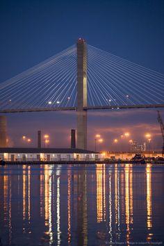 Savannah Harbor and Talmadge Memorial Bridge at dawn, Savannah, Georgia | Salina could see this bridge from her dorm!