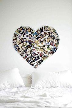 pêle mêle photos en forme de cœur comme déco murale dans la chambre à coucher