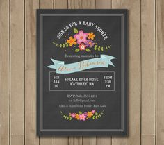 Chalkboard Floral Baby Shower Invitation by TracyAnnPrintables