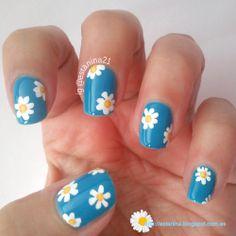 Manicura de Margaritas.... Daisies Nails ♥(ˆ⌣ˆԅ)