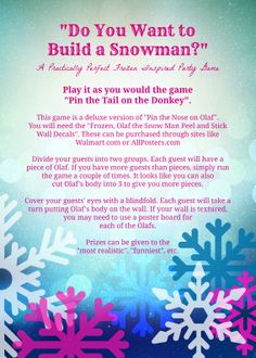"""Need a fun party game for your Frozen party? This Practically Perfect Frozen Party game is appropriately named """"Do You Want to Build a Snowman?"""" This is a deluxe version of """"Pin the Nose on Olaf"""" using peel and stick decals from Walmart.com or Allposters.com."""
