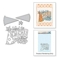 Get ready to Party with this die and cling mounted stamp set from the Happy Grams 4 Collection designed by Tammy Tutterow for Spellbinders. The stamp can be Birthday Party Hats, Happy Birthday Parties, Cd Store, Sending Hugs, Paper Crafts, Diy Crafts, Make Design, Stencils, Card Making