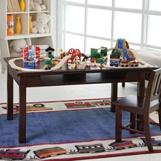For kids really into trains, this train table is a really amazing solution.