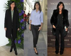 Modern French Fashion Muses | Emmanuelle Alt. The Editor-in-Chief of French Vogue and a bonafide street style star, Alt is partial to cropped low-slung jeans, sharp blazers, button-downs, and pointy pumps.   Read more: http://www.stylecaster.com/french-fashion/#ixzz31fY9DPla
