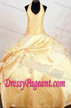 Custom Made Halter Gold Ball Gown Taffeta Floor-length Little Girl Pageant Dress