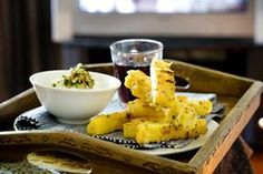 Polenta chips and green olive mayo