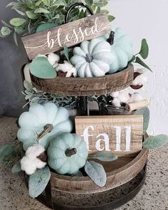 21 Best Tiered Tray Decor Ideas for FallIn this post you'll find 21 unique ideas for styling a tiered tray for fall. Create the perfect fall vignette using natural elements or even nostalgic. Fall Home Decor, Autumn Home, Diy Home Decor, Thanksgiving Decorations, Seasonal Decor, Table Decorations, Thanksgiving Table, Centerpieces, Holiday Decor