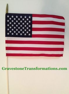 Gravestone Transformations, historic cemetery conservators.  •Memorial Day •Veterans Day •Replacement for worn ones •Flag etiquette observed for disposal of worn flags •12 x 18 size