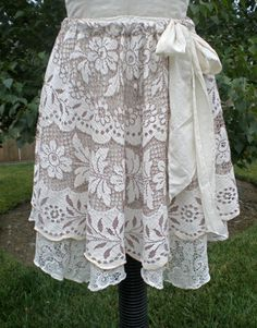 Upcycled lace tablecloth tiered skirt