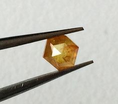 OOAK 4.3mm Natural Golden Yellow Hexagon Shaped Rose Cut Diamond Loose, Fancy Faceted Diamond Rose Cut Cabochon, Ring Size - PPD43