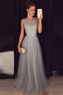 Silver Grey Prom Dress Evening Dress ,Winter Formal Dress, Pageant Dance Dresses, Graduation School Party Gown, - 2020 New Prom Dresses Fashion - Fashion Of The Year Grey Evening Dresses, Plus Size Evening Gown, Grey Prom Dress, Winter Formal Dresses, Beaded Prom Dress, Elegant Dresses, Dress Winter, Beaded Top, Dress Formal