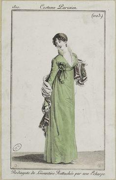 """Costume Parisien, 1810,     From the Bibliothèque des Arts Décoratifs via SceneInThePast flickr.   Plate 1103  """"Redingote de Lévantine Rattachée par une Echarpe"""""""
