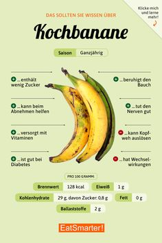 plantains - Kochbananen You should know about cooking bananas Nutrition Education, Sport Nutrition, Nutrition Sportive, Health And Nutrition, Health Tips, Healthy Foods To Eat, How To Stay Healthy, Healthy Eating, Healthy Recipes
