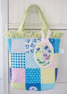 """Adorable """"patchwork"""" child's tote made with Elea Lutz' Strawberry Biscuit fabric line #ilovepennyrose #fabricismyfun"""