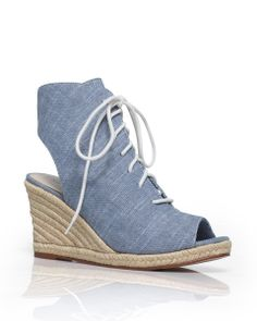 Chambray and lace-up espadrille wedges? Yes, please. #ShoeMint
