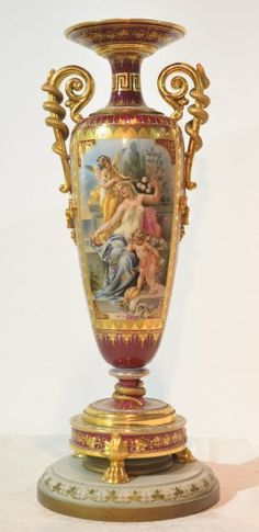 HAND PAINTED ROYAL VIENNA VASE SIGNED WAGNER : Lot 303
