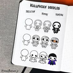 mentions Jaime, 16 commentaires - shibadoodle sur : Take a look at this awesome halloween step by step by anotherme. I think you would really Bullet Journal Doodles, Doodle Art Journals, Bullet Journal Notebook, Bullet Journal Ideas Pages, Bullet Journal Inspiration, Simple Doodles, Cute Doodles, Doodle Drawings, Easy Drawings