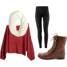 Oversized sweater, infinity scarf,leggings, and combat boots  | followpics.co