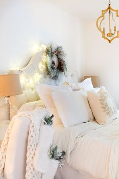 Farmhouse/Cottage/Eclectic Style Christmas bedroom all dressed up...