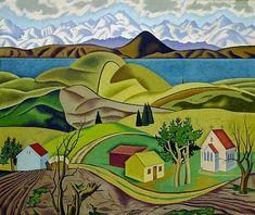 "Rita Angus (New Zealand, ""Central Otago"", 1940 Central Otago, Oriental, New Zealand Art, Nz Art, Kiwiana, Naive Art, Female Art, Landscape Paintings, Acrylic Paintings"
