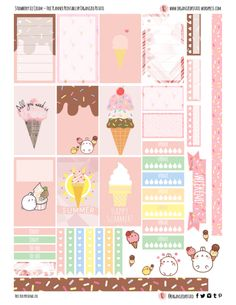 Free Printable Strawberry Ice Cream Planner Stickers from Organized Potato