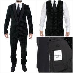 Elegant Suit Authentic -69% Sale Mens Velvet Suit, Dolce And Gabbana Suits, 3 Piece Suits, Black Models, Green Velvet, Tuxedo, Mens Suits, Brand New, Blazer
