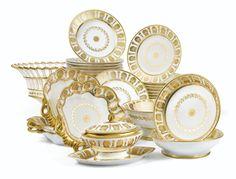 A Paris Porcelain part dessert service, 19th century. Empire or beginning of the Restauration Period   sotheby's