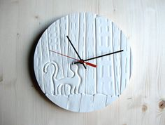 City Cat Wall Clock White Ceramic Clock by NomadClayworks, $32.00