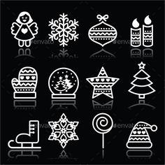 Vector icons set for celebrating Xmas isolated on black background FEATURES: 100 Vector Shapes All groups have names All elements are easy to modify you can change colours, size Pack include version AI, EPS, JPG