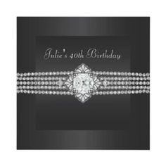 Black Diamond Womans 40th Birthday Party Invite from http://www.zazzle.com/elegant+birthday+invitations