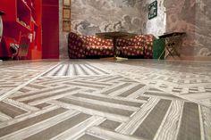 XILO1934 decorated wood floor in Fornasetti's Milano shop renovation. October 2014. Design: Piero & Barnaba Fornasetti