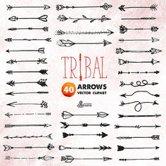 Tribal Arrows Clipart: 40 vector digital files. Hand drawn, doodle clipart, diy…