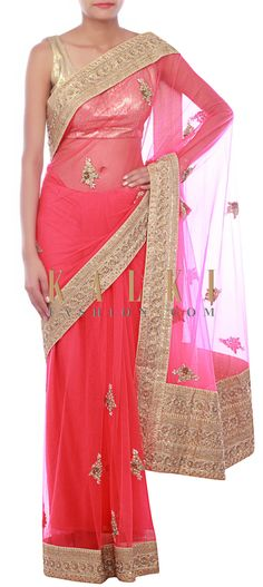 Buy Online from the link below. We ship worldwide (Free Shipping over US$100) http://www.kalkifashion.com/pink-saree-embellished-in-zardosi-and-sequins-only-on-kalki.html