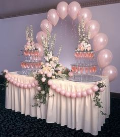 Ideas For Wedding Table Balloons Pink Table Decorations, Wedding Balloon Decorations, Wedding Balloons, Birthday Decorations, Baby Shower Decorations, Wedding Centerpieces, Quinceanera Decorations, Party Ballons, Pink Balloons