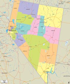 Map of State of Nevada, with outline of the state cities, towns and counties.