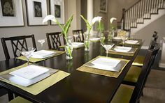 Beautifully set dining room table